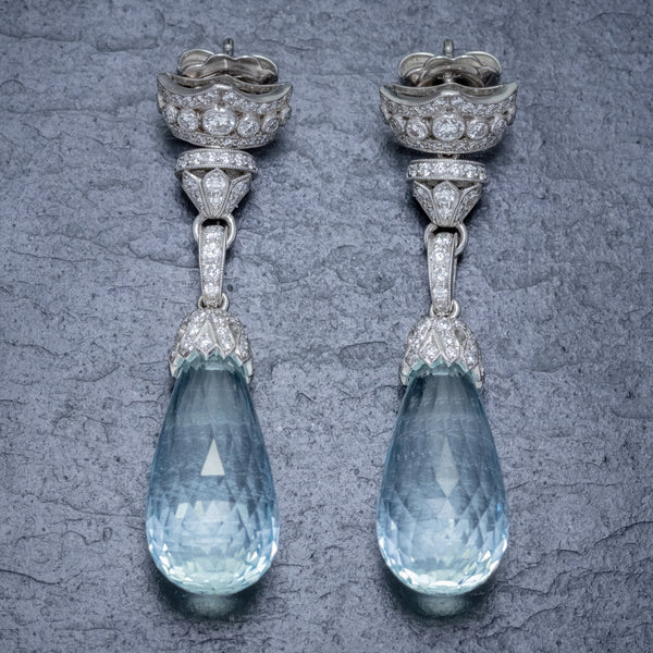 BRIOLETTE CUT AQUAMARINE DIAMOND DROP EARRINGS 18CT GOLD 25CT AQUAS 2.50CT OF DIAMOND FRONT