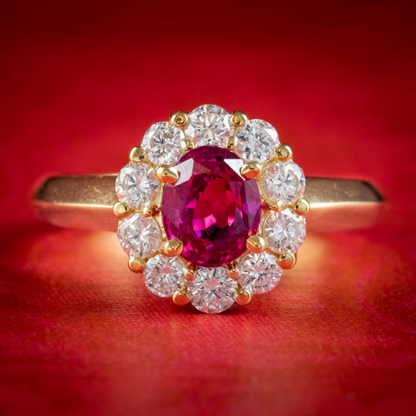BURMESE RUBY DIAMOND CLUSTER RING 18CT GOLD 1.10CT NATURAL RUBY WITH CERT