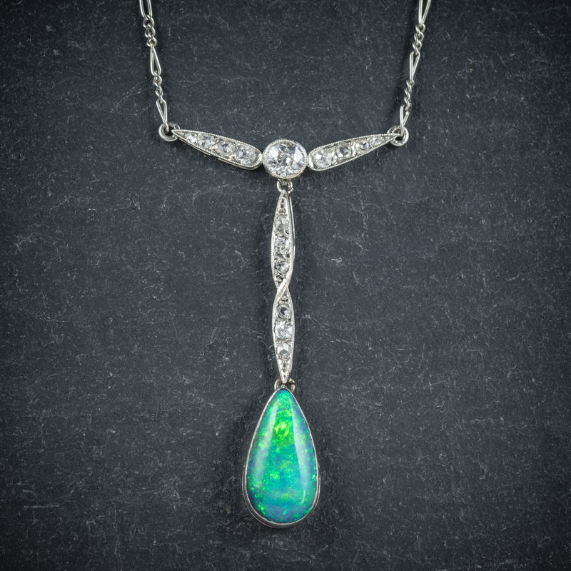 Black Opal Pendant Necklace 18ct White Gold pendant
