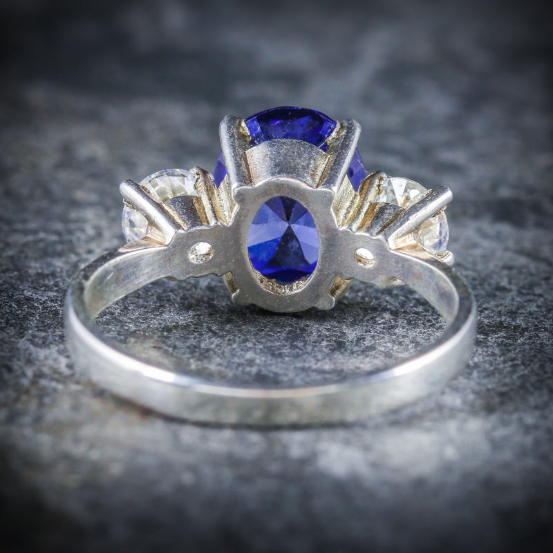 CZ TANZANITE AND PASTE TRILOGY RING BACK
