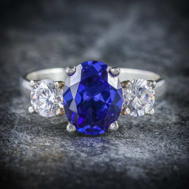 CZ TANZANITE AND PASTE TRILOGY RING FRONT