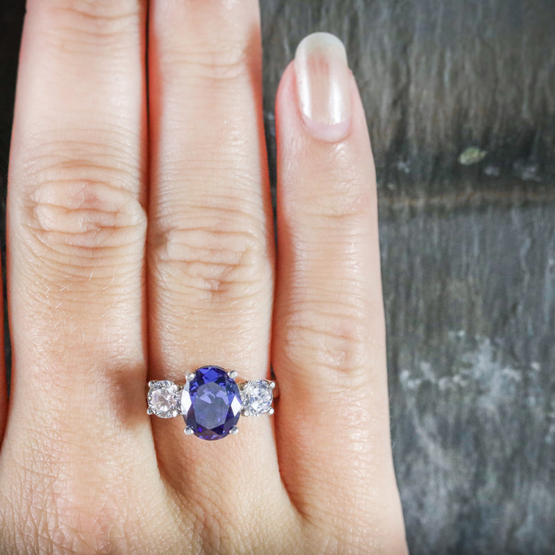 CZ TANZANITE AND PASTE TRILOGY RING HAND