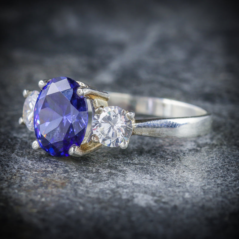 CZ TANZANITE AND PASTE TRILOGY RING SIDE