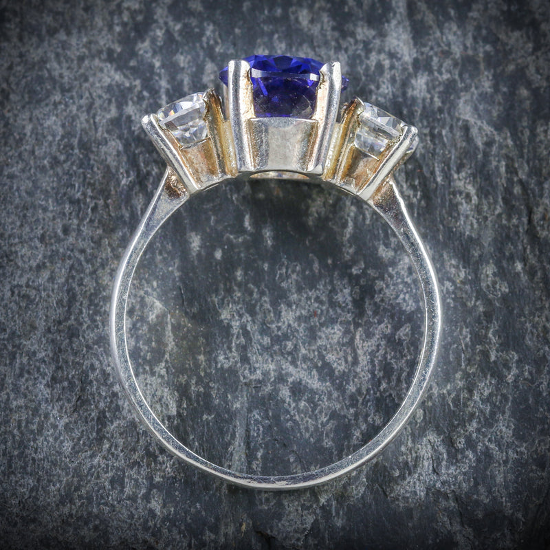 CZ TANZANITE AND PASTE TRILOGY RING TOP