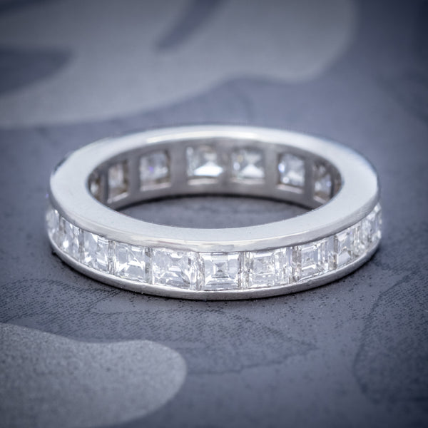 DIAMOND FULL ETERNITY RING 18CT WHITE GOLD 3CT OF CARRE CUT DIAMONDS COVER