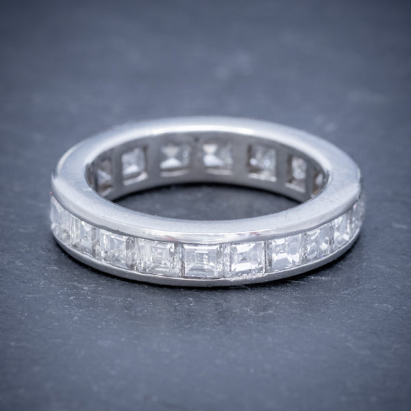 DIAMOND FULL ETERNITY RING 18CT WHITE GOLD 3CT OF CARRE CUT DIAMONDS FRONT