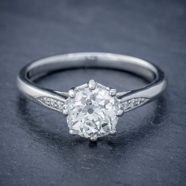 DIAMOND SOLITAIRE ENGAGEMENT RING PLATINUM 1.24CT OLD CUT DIAMOND CERT