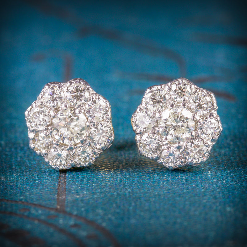 DIAMOND 1.25CT CLUSTER 18CT GOLD EARRINGS COVER