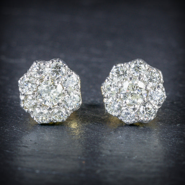 DIAMOND 1.25CT CLUSTER 18CT GOLD EARRINGS FRONT
