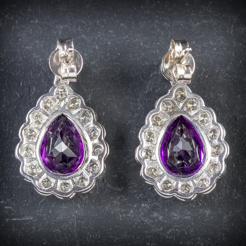 AMETHYST DIAMOND EARRINGS 18CT WHITE GOLD BACK