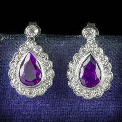 AMETHYST DIAMOND EARRINGS 18CT WHITE GOLD COVER
