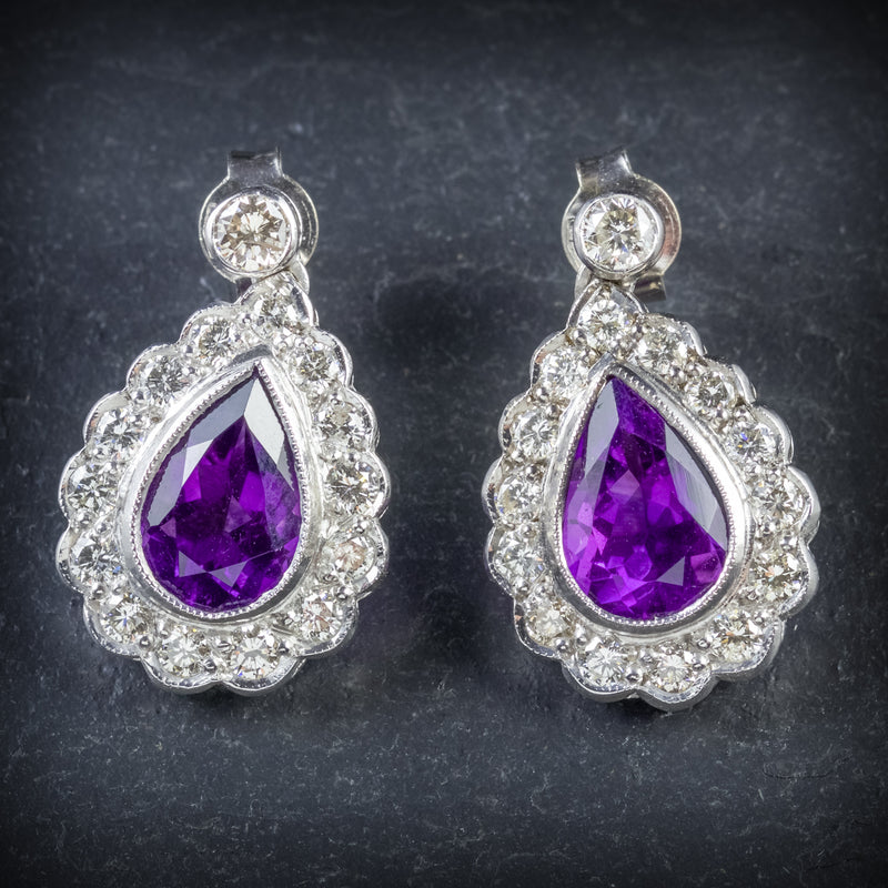AMETHYST DIAMOND EARRINGS 18CT WHITE GOLD FRONT