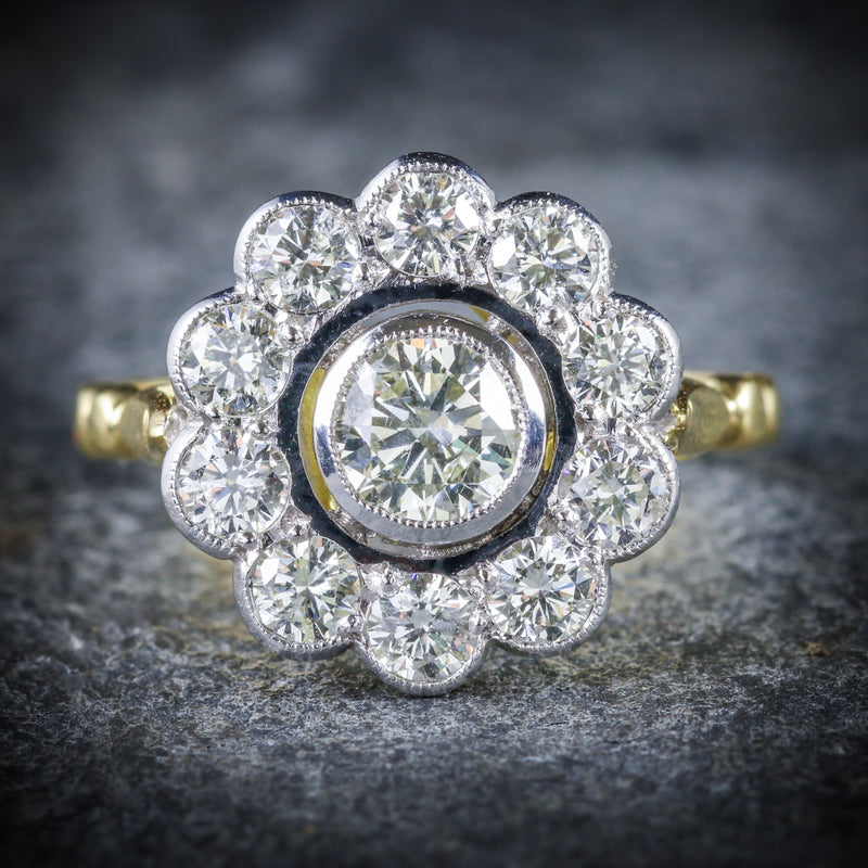 DIAMOND CLUSTER RING 18CT GOLD 0.70CT CENTRE DIAMOND FRONT