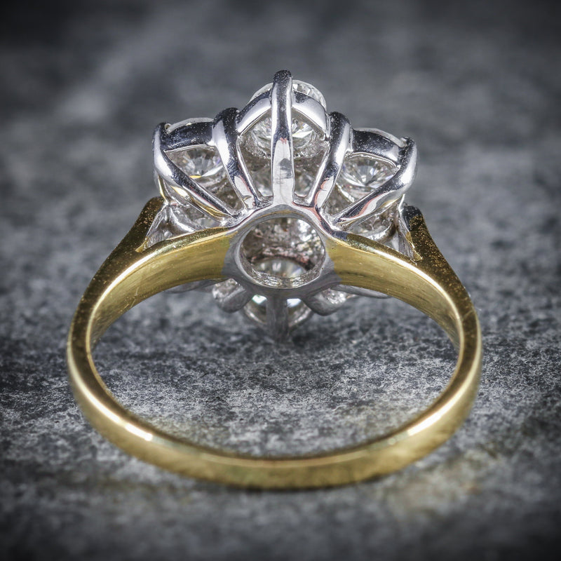 DIAMOND DAISY RING 18CT GOLD ENGAGEMENT RING BACK