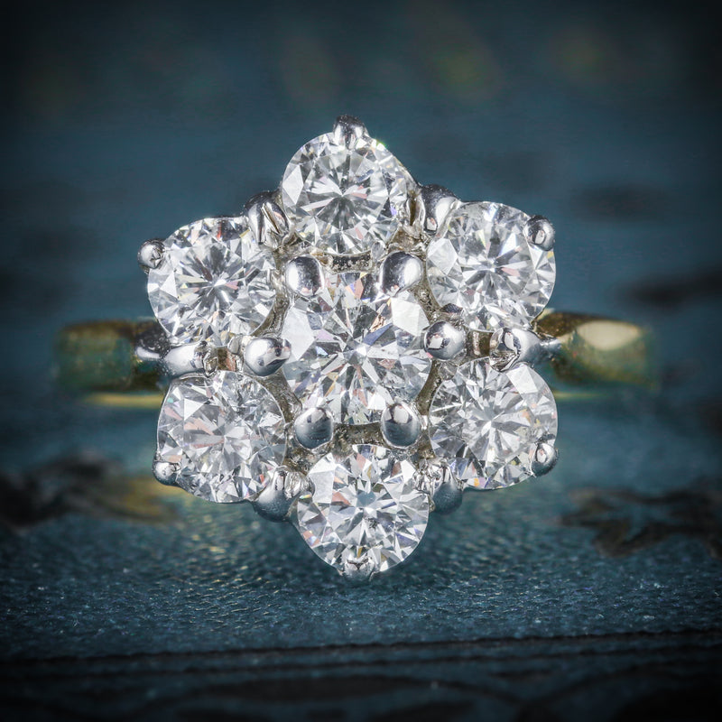 DIAMOND DAISY RING 18CT GOLD ENGAGEMENT RING COVER