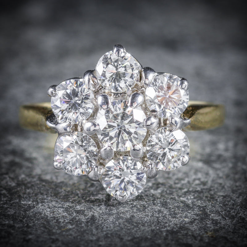 DIAMOND DAISY RING 18CT GOLD ENGAGEMENT RING FRONT