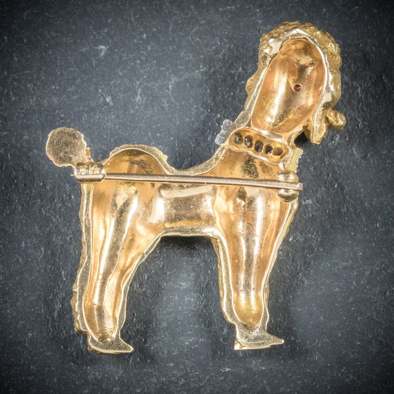 Diamond Dog Brooch 14ct Gold Poodle Circa 1950 BACK
