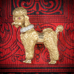 Diamond Dog Brooch 14ct Gold Poodle Circa 1950 COVER