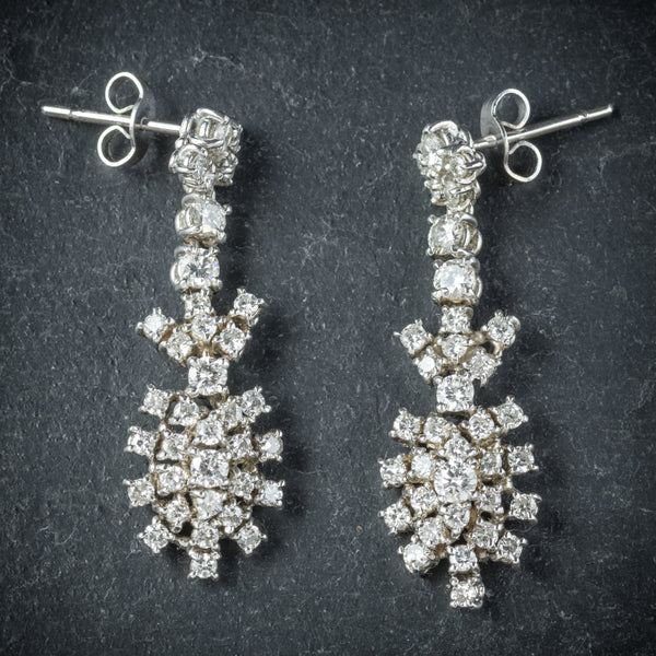 Diamond Drop Earrings 18ct White Gold  FRONT