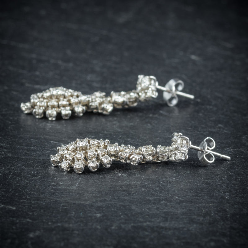 Diamond Drop Earrings 18ct White Gold  SIDE