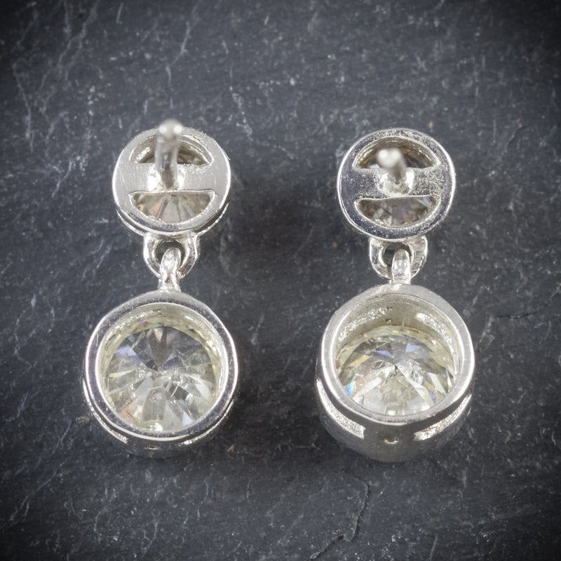 DIAMOND EARRINGS 18CT WHITE GOLD 1.20CT OLD CUT DIAMOND BACK