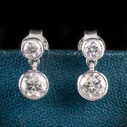 DIAMOND EARRINGS 18CT WHITE GOLD 1.20CT DIAMOND