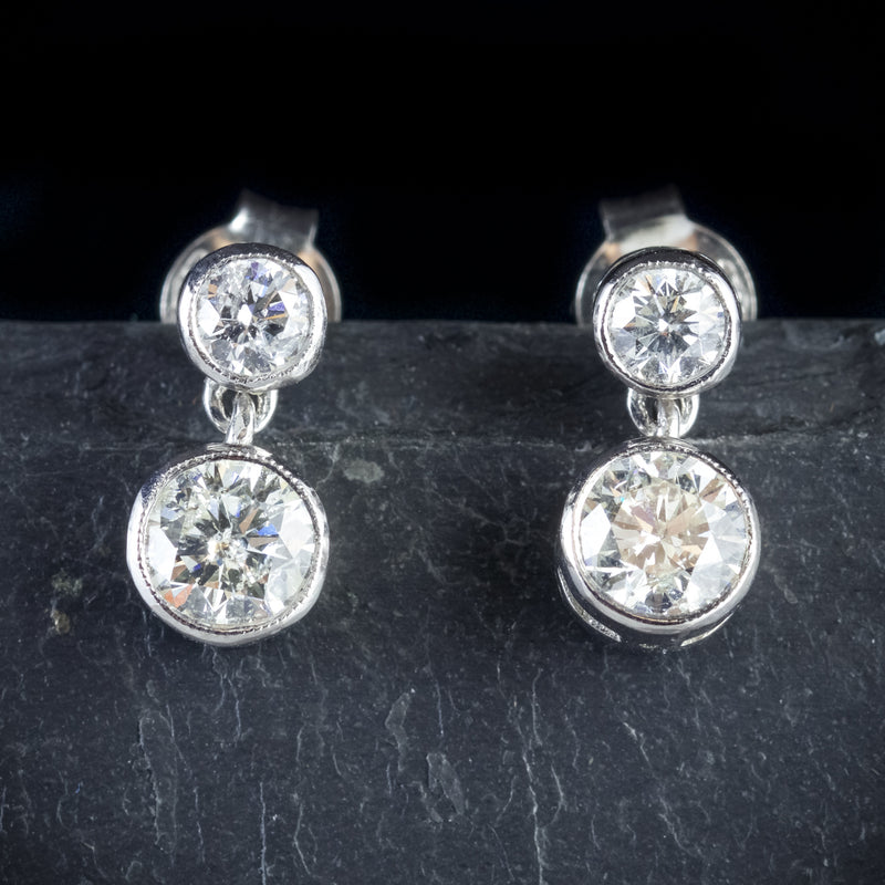 DIAMOND EARRINGS 18CT WHITE GOLD 1.20CT OLD CUT DIAMOND FRONT
