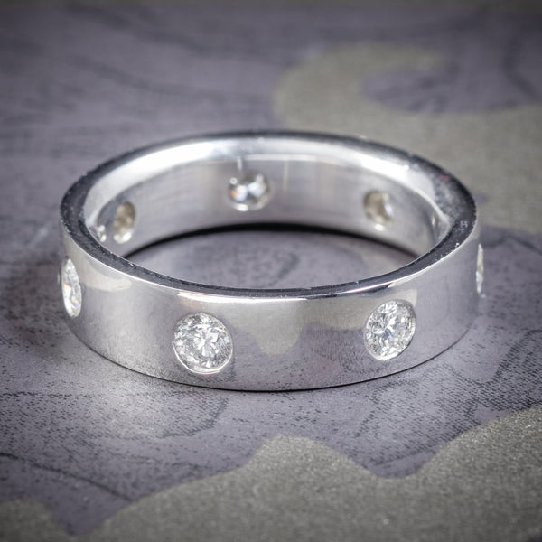 DIAMOND ETERNITY RING PLATINUM GENTS WEDDING BAND 1.44ct OF DIAMONDS