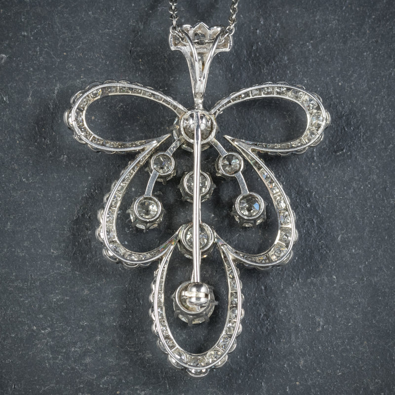 Diamond Pendant Necklace Platinum Brooch 4cts of Diamond BACK