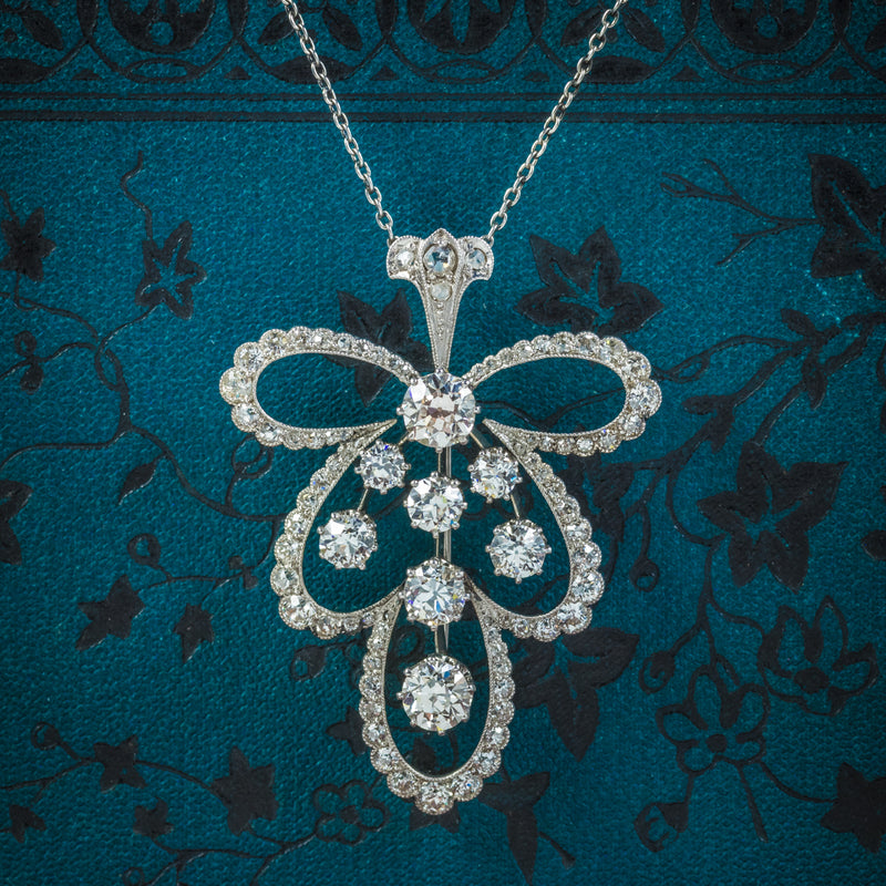 Diamond Pendant Necklace Platinum Brooch 4cts of Diamond COVER