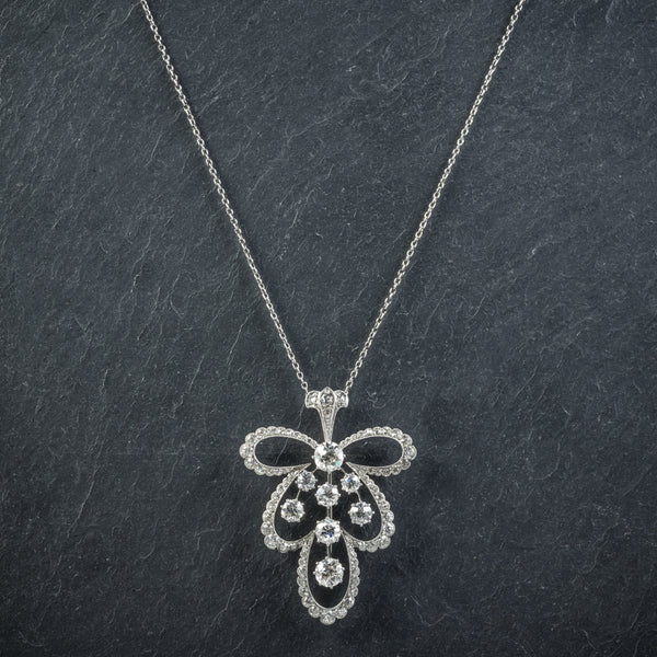 Diamond Pendant Necklace Platinum Brooch 4cts of Diamond FRONT