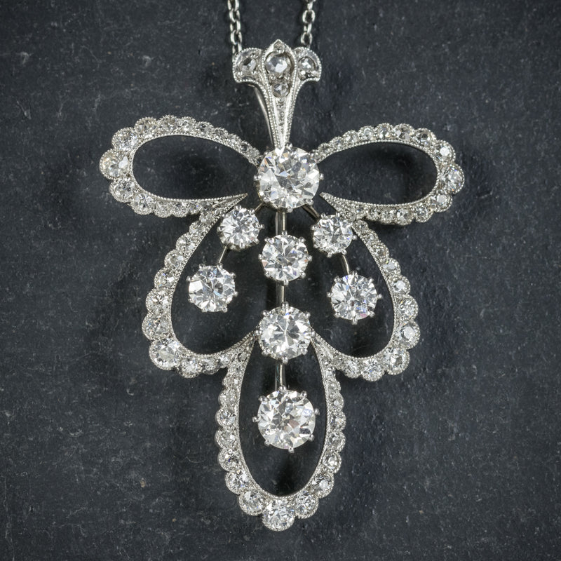 Diamond Pendant Necklace Platinum Brooch 4cts of Diamond PENDANT