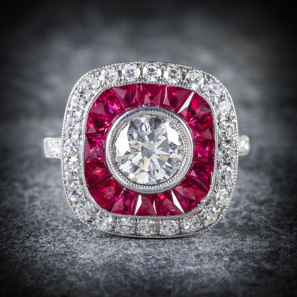 DIAMOND RUBY RING 18CT FRENCH CUT RUBIES 2.50CT FRONT