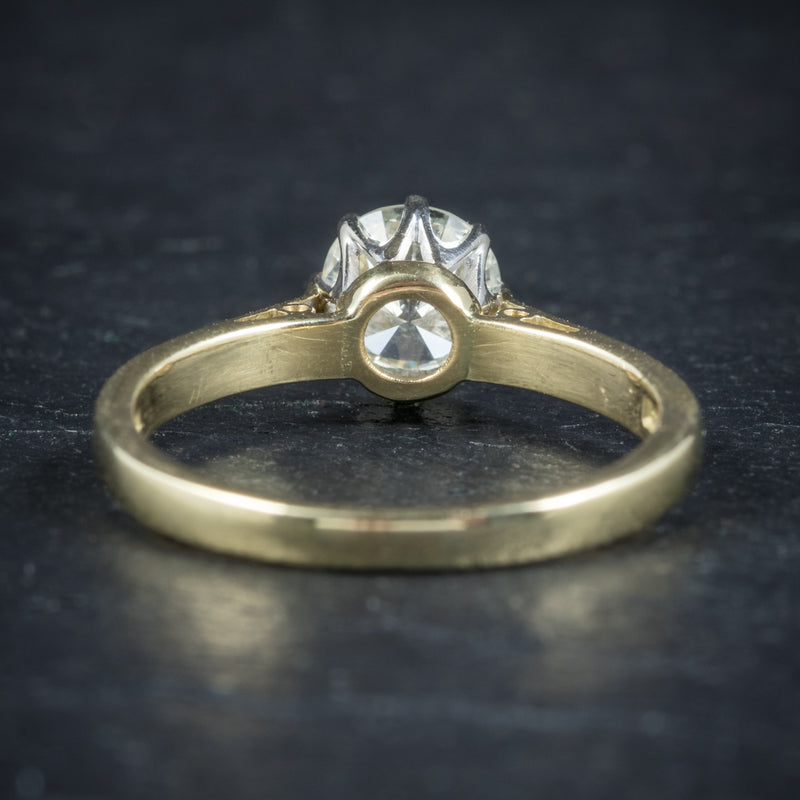 Diamond Solitaire Engagement Ring 18ct Gold Dated London 1991 BACK