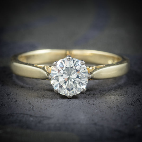 Diamond Solitaire Engagement Ring 18ct Gold Dated London 1991 COVER