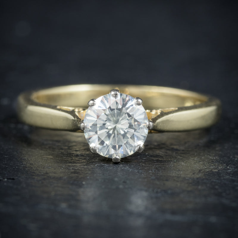 Diamond Solitaire Engagement Ring 18ct Gold Dated London 1991 FRONT