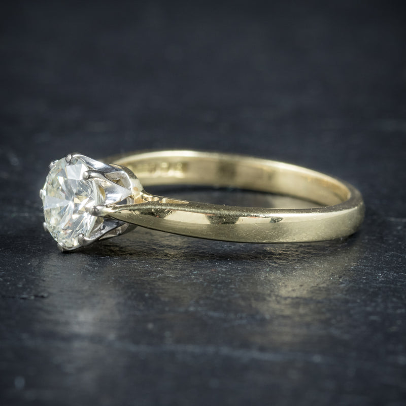 Diamond Solitaire Engagement Ring 18ct Gold Dated London 1991 SIDE