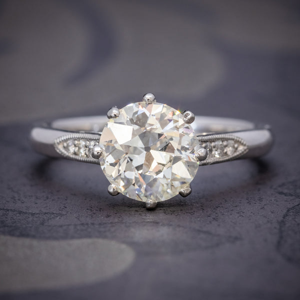 Diamond Solitaire Engagement Ring Platinum 1.80ct Diamond COVER