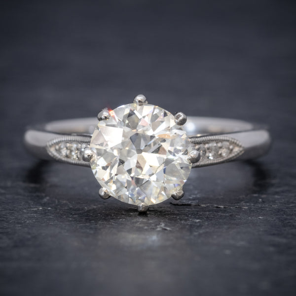 Diamond Solitaire Engagement Ring Platinum 1.80ct Diamond FRONT
