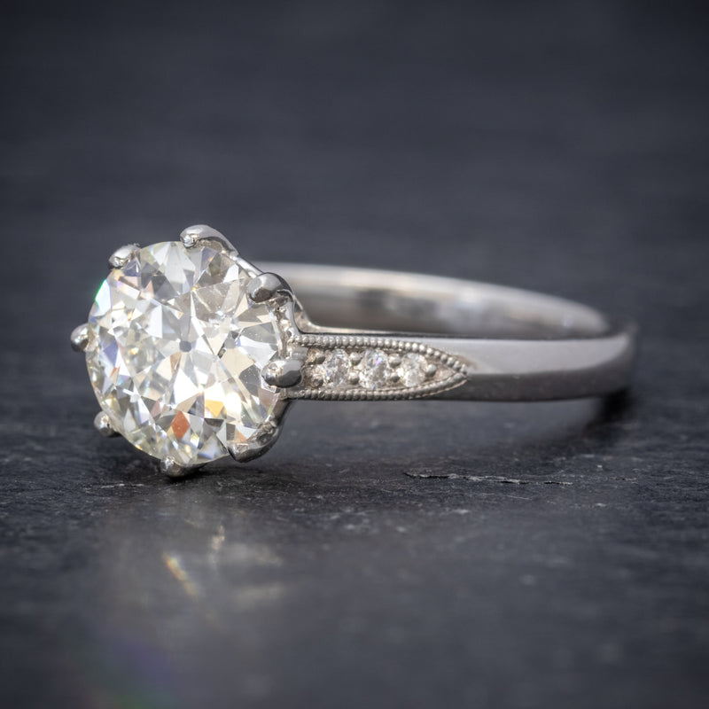 Diamond Solitaire Engagement Ring Platinum 1.80ct Diamond SIDE