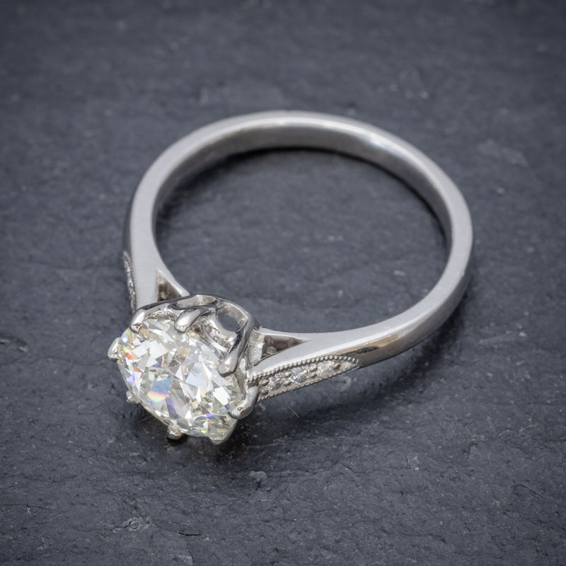 Diamond Solitaire Engagement Ring Platinum 1.80ct Diamond TOP