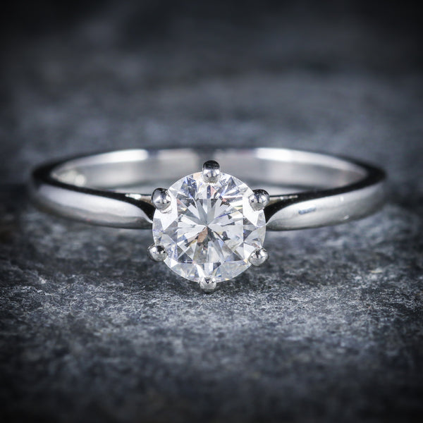 DIAMOND SOLITAIRE ENGAGEMENT RING PLATINUM FULL CERTIFIED VS1 F COLOUR FRONT