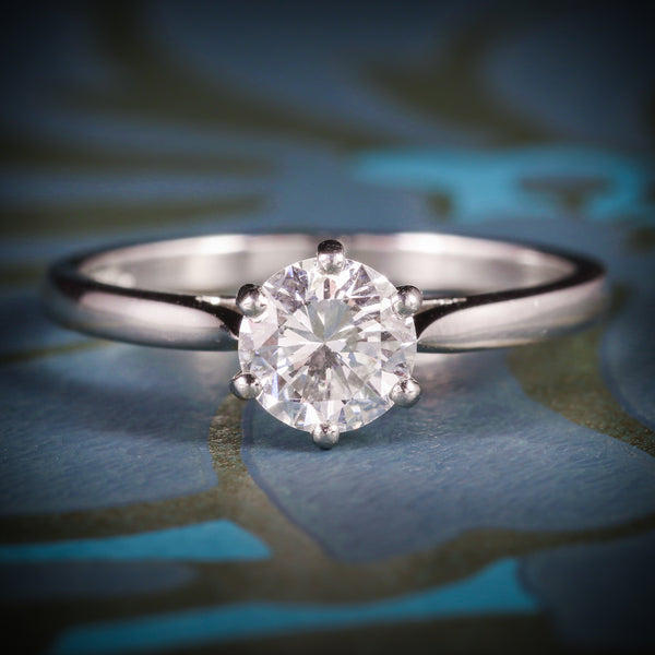 DIAMOND SOLITAIRE ENGAGEMENT RING PLATINUM FULL CERTIFIED VS1 F COLOUR COVER