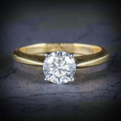 DIAMOND SOLITAIRE RING 18CT GOLD ENGAGEMENT RING COVER