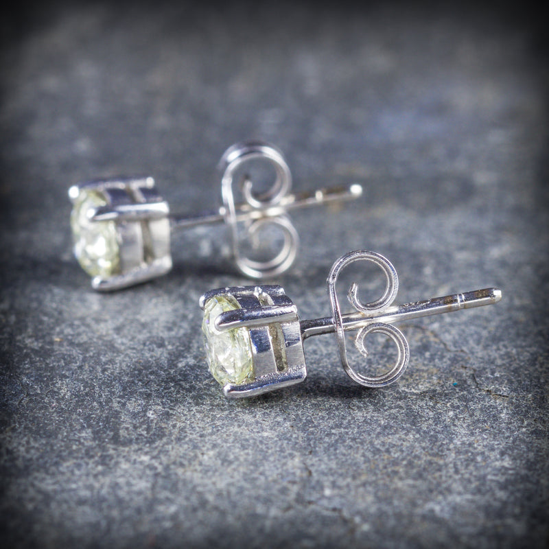 DIAMOND STUD EARRINGS 18CT GOLD 1.20CT DIAMOND SIDE