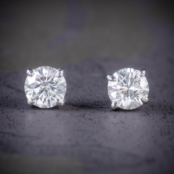 DIAMOND STUD EARRINGS 18CT WHITE GOLD 1.20CT OF DIAMOND COVER