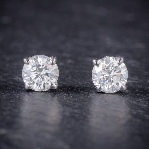 DIAMOND STUD EARRINGS 18CT WHITE GOLD 1.20CT OF DIAMOND FRONT