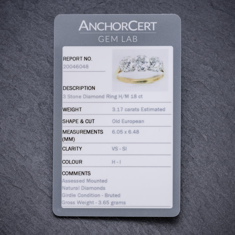 Diamond Trilogy Ring 18ct Gold 3.17ct Of Diamond Full Cert CERT