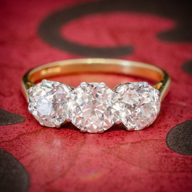 Diamond Trilogy Ring 18ct Gold 3.17ct Of Diamond Full Cert COVER