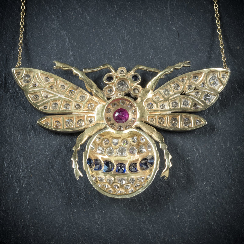 Diamond Bumble Bee Pendant Necklace Sapphire Ruby 18ct Gold back